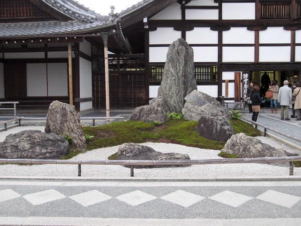 Stone garden at temple entrance
